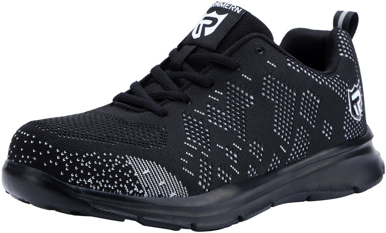 LARNMERN Men's Steel Toe Shoes, LM-1812 Flyknit Ultra Lightweight Breathable Reflective Safety Work Shoes (9.5 US, Black)