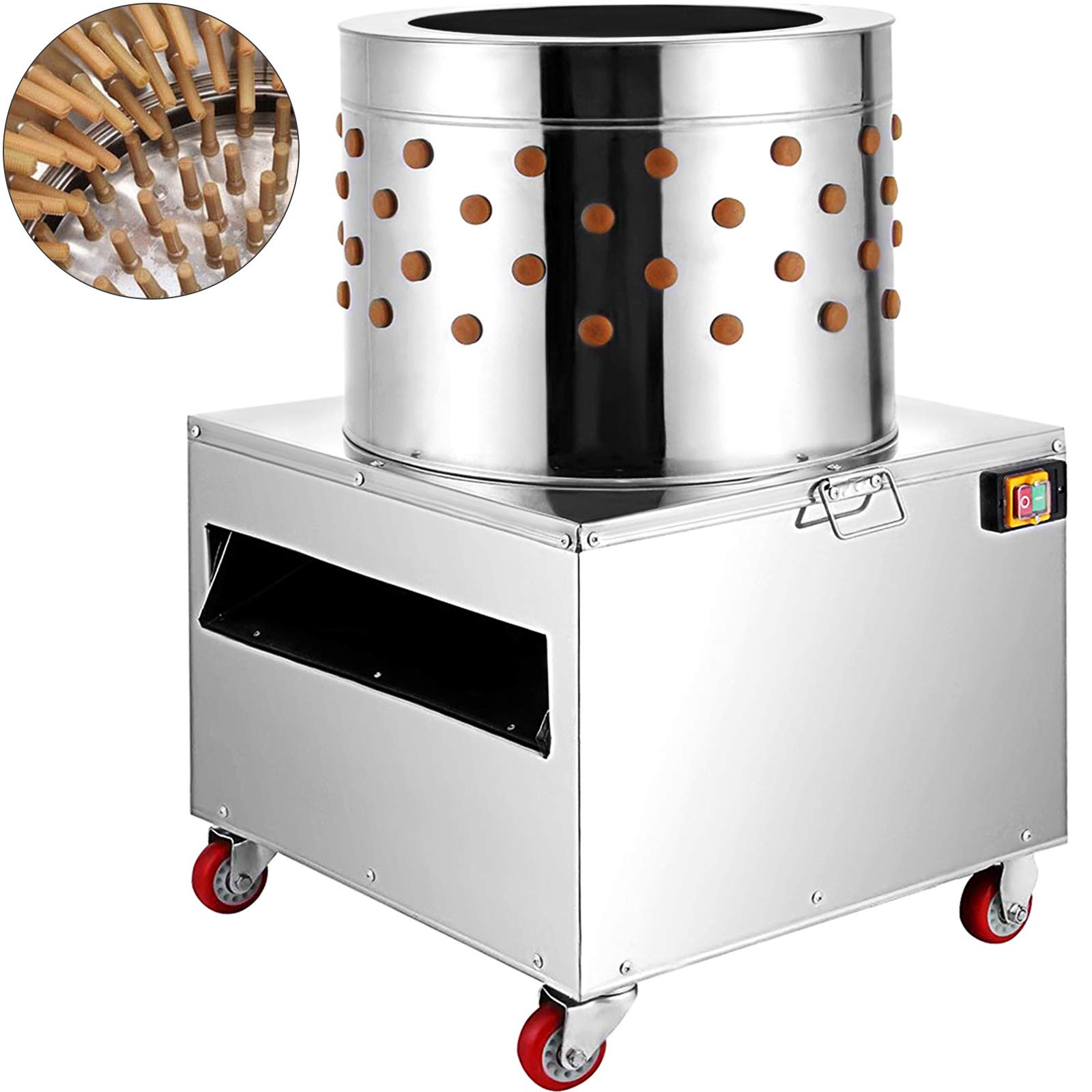 BestEquip Chicken Plucker Machine 1500W Large Pro Poultry Plucker 20Inch Barrel Diameter Feather Removal Quail Plucker for Quail and Chicken (20Inch Barrel Diameter) by BestEquip