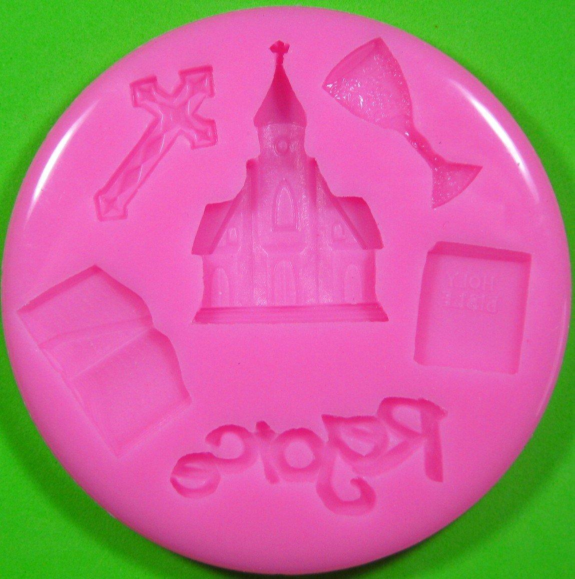 Primera Iglesia de la Comunión Religión Molde de silicona para la torta de Decoración Pastel de Cupcake Toppers Glaseado Sugarcraft Tool por Fairie ...