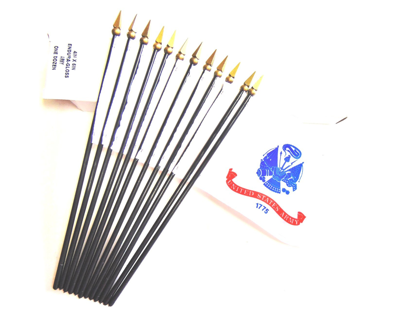 MADE IN USA!! Box of 12 US Army 4''x6'' Miniature Desk & Table Flags; 12 American Made Small Mini United States Army Flags in a Custom Made Cardboard Box Specifically Made for These Flags