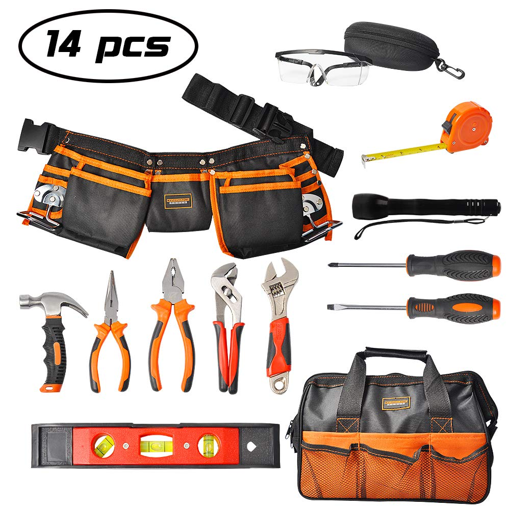 Mysterystone Kids Tool Set 14 Pieces Real Tool Kit for Children with Real Hand Tools Kids Tool Belt Pouch Bag for Small Hands DIY Woodworking Projects Home Repair