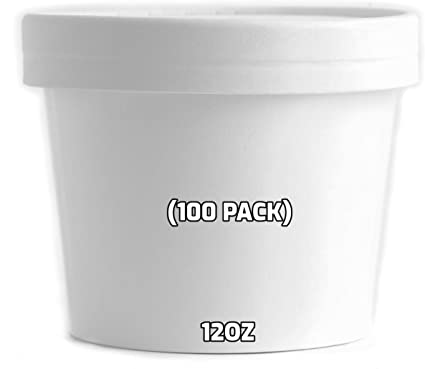 12oz Takeaway Hot Food Soup Containers White Disposable Paper
