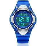 Kids Outdoor Sports Children's Waterproof Wrist Dress Watch With LED Digital Alarm Stopwatch Lightweight for Boy Girl