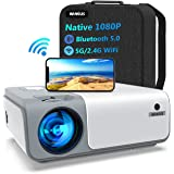 5G WiFi Bluetooth Projector Support 4K Full HD, WiMiUS W1 Native 1080P Outdoor Projector Wireless Movie Projector w/ ±50° 4D/