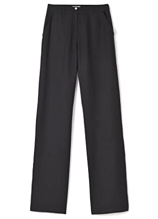 2d5aa890b Somewhere Pantalon Femme Natté Coton/lin Coupe Large, Foix noir ...