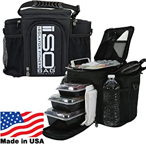 Meal Prep Bag ISOBAG 3 Meal Insulated Lunch Bag Cooler with 6 Stackable Meal Prep Containers, 2 ISOBRICKS, and Shoulder Strap - MADE IN USA (Black w/Silver Logo, 3 Meal ISOBAG)
