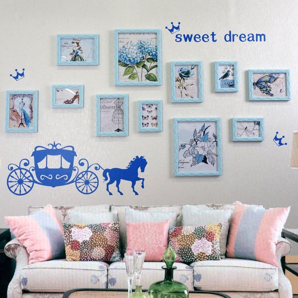 Unbekannt Global- 8 Multi Bilderrahmen Set europäischen Stil Holz geschnitzten Bilderrahmen Schlafzimmer Arbeitszimmer Kinderzimmer Hintergrund Wand Bilderrahmen (Farbe : Blau)