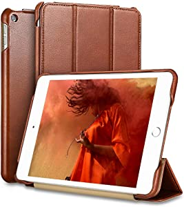 iPad Mini 5 Case, ICARER Vintage Series Genuine Leather Folio Flip Smart Cover with Auto Wake/Sleep Function [Magnetic Latch] Kickstand for Apple iPad Mini 5 7.9 inch 2019 (Brown)