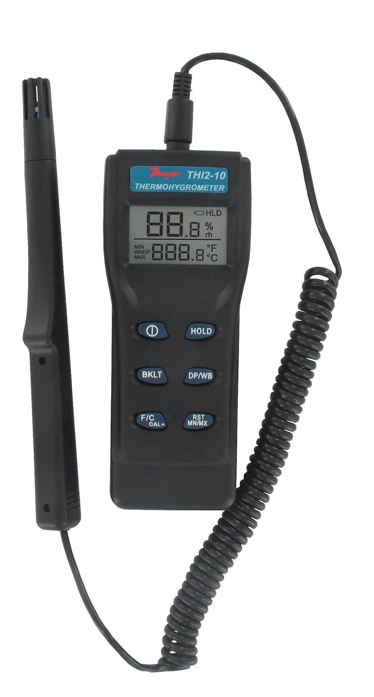 Dwyer Digital Thermo-Hygrometer, THI2-10, w/ Remote Probe