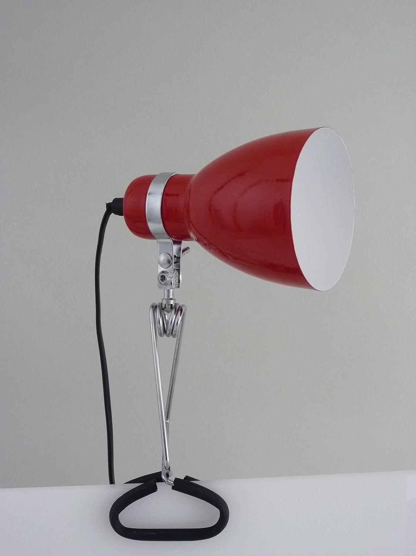 Moderne, flexible Klemmleuchte Work rot, E14-40 Watt Klemmlampe Dapo Leuchten