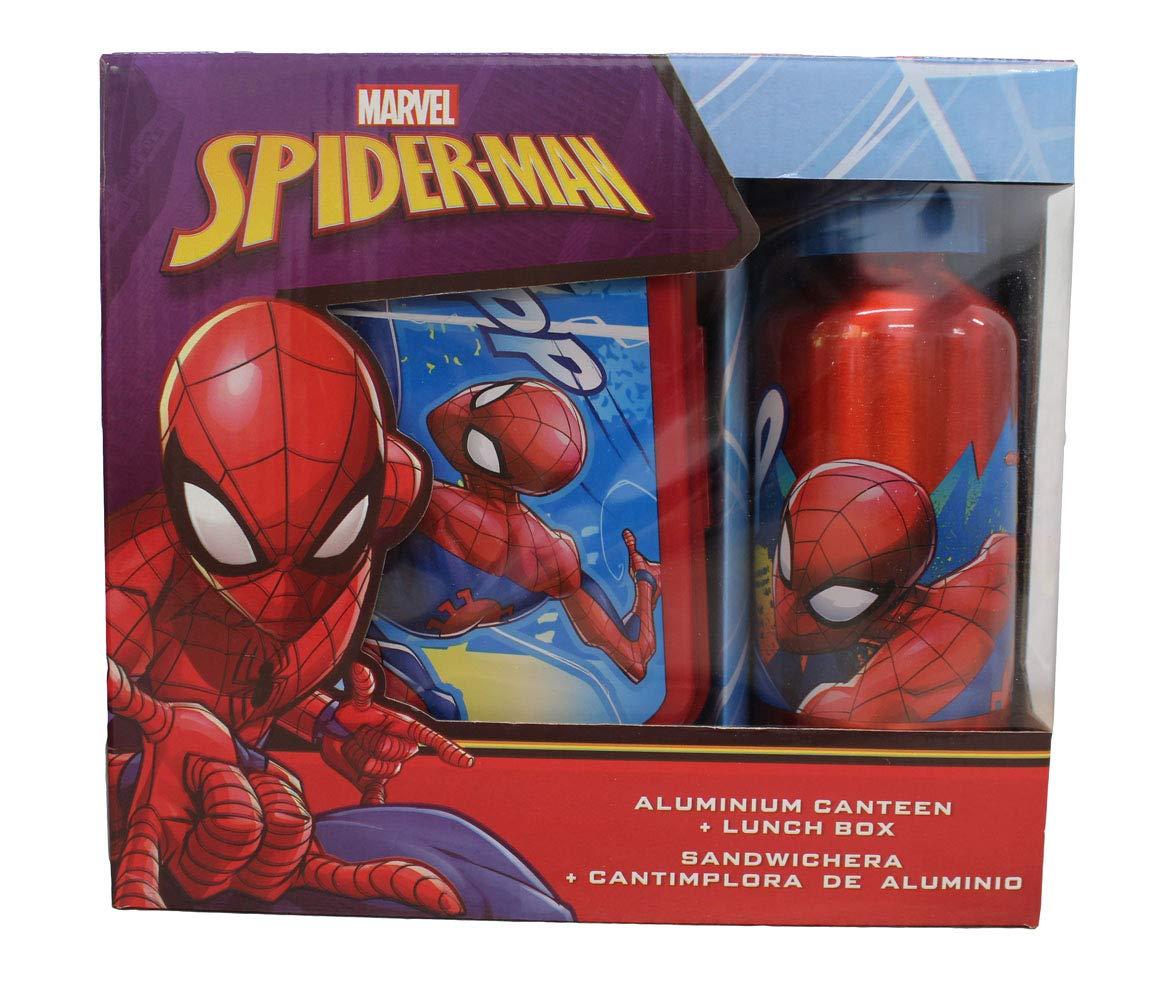 Marvel MV15371 Spiderman Brotdose Aluminium Trinkflasche Fr/ühst/ück Set