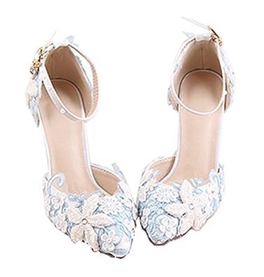 040afabd12 Amazon.com   qqqq Shoes Blue Lace Flower Bride White Pearl Diamond ...