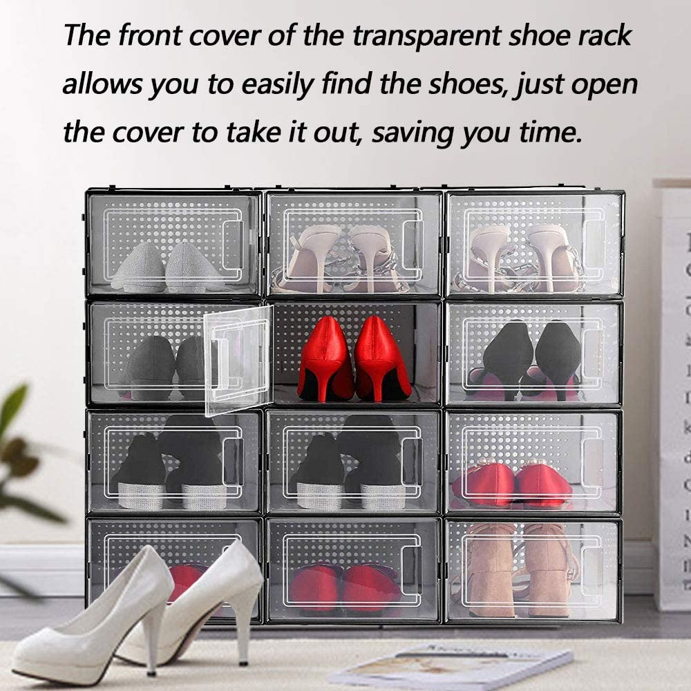 Bedrooms Bathrooms 12 Pack Foldable Shoe Box Stackable Shoe Storage Box Plastic Clear Foldable Shoe Box with Lids Closet Stacking Shoe Container Organizer for Women and Men
