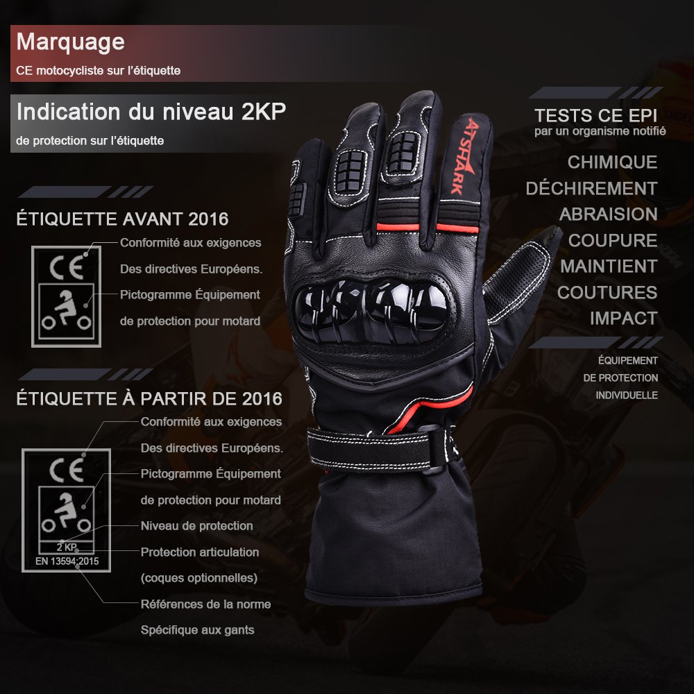 Motorradhandschuhe Herren, Atshark Motorrad Handschuhe Wasserdicht Touchscreen Handschuhe 2KP Warm Winterhandschuhe Kälteschutz Rutschfest Fahrradhandschuhe Herren Damen für Skifahren Wintersport L