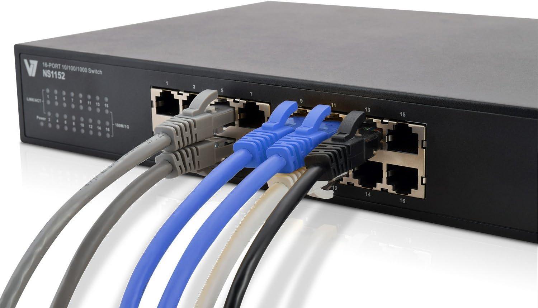 1-pie V7 CAT5e Snagless Moldeado Red Ethernet Patch Cable RJ45 macho a macho, V7N3C5E-01F-BLUS - Azul