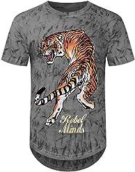 ca7ea39c407a6c Trending Apparel New Men Tye Dye Tiger Longline T-Shirt