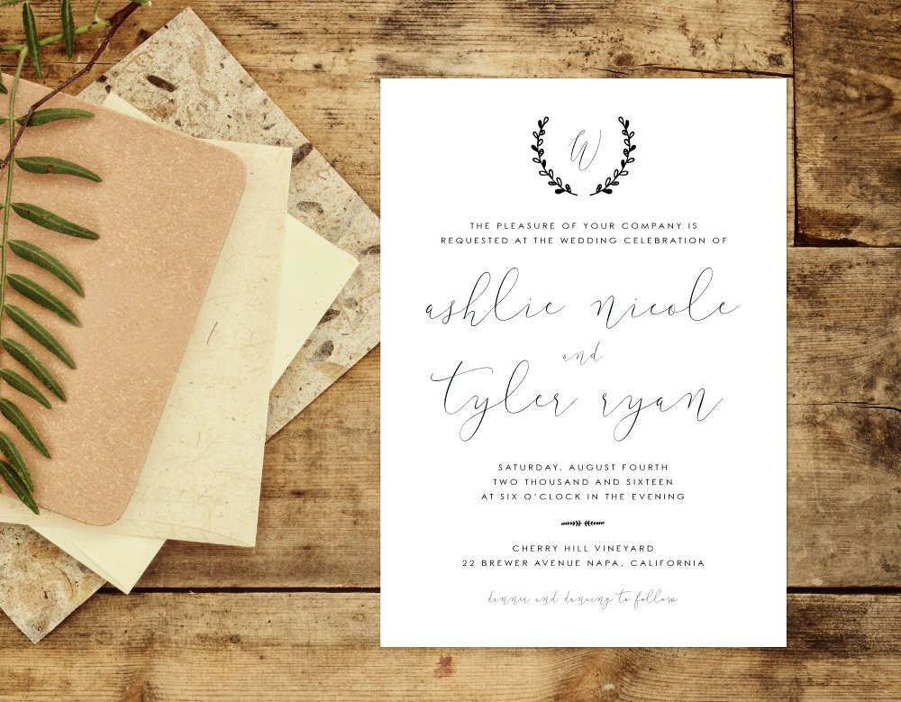 Rustic Elegant Wedding Invitation, Organic Handwritten Wedding Invitation, Wreath Wedding Invite