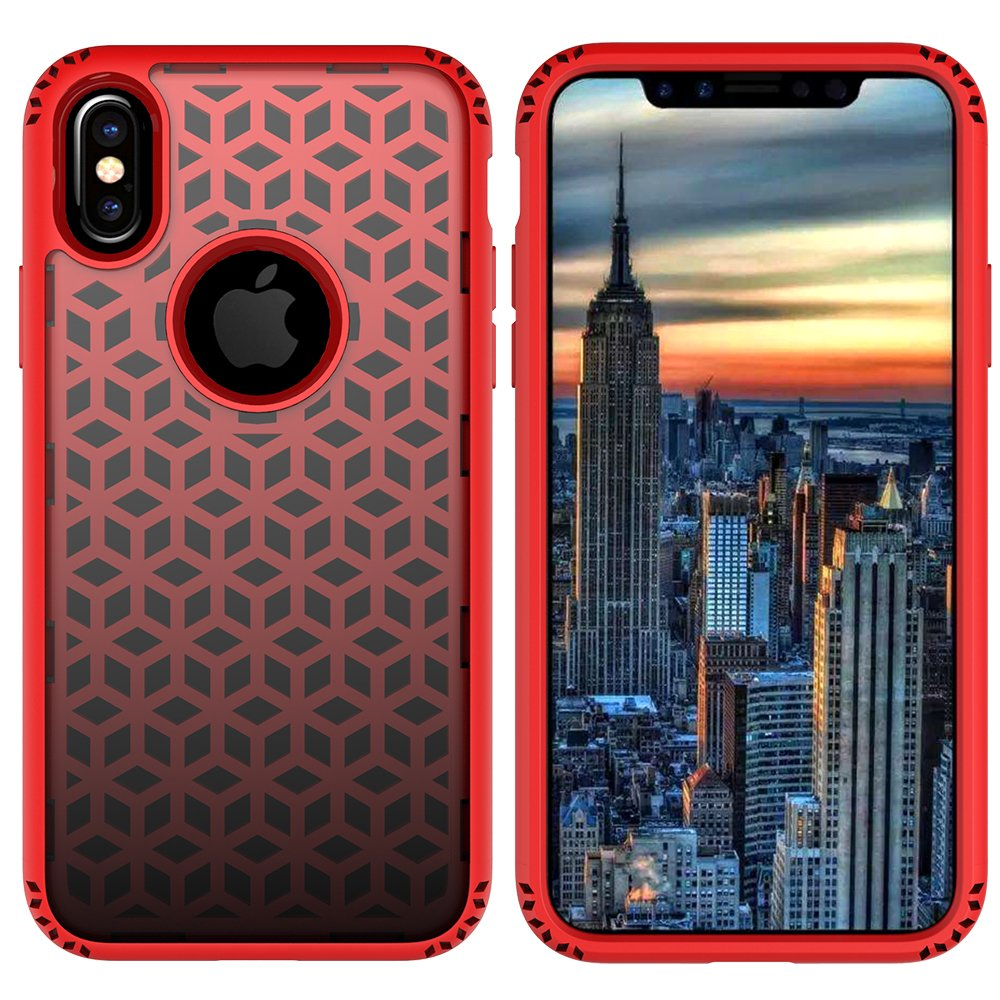 iPhone X Case, MagicSky Shockproof Slim Corner Protection with Resilient Shock Absorption Rubber Protective Case Cover for Apple iPhoneX - Red and Black