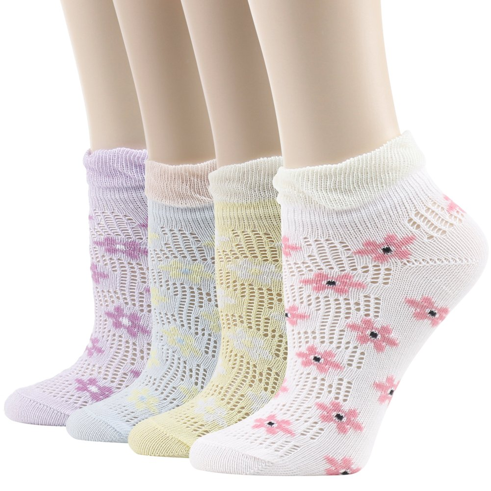 Women Novelty Ankle Socks,Funcat Girls Teens Students Low Cut Breathable Cool Cotton Flower Patterned Gift Casual Dress Socks 4 Pairs