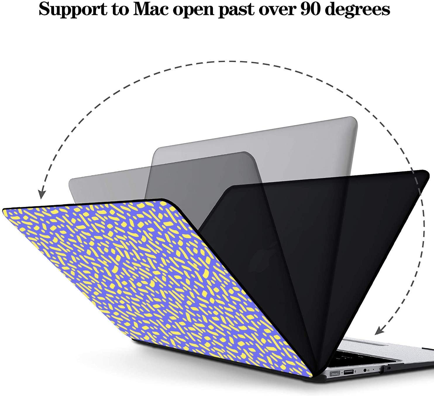 Laptop Case MacBook Pro Summer Cute Retro Puple Yellow Line Plastic Hard Shell Compatible Mac Air 11 Pro 13 15 Mackbook Pro Case Protection for MacBook 2016-2019 Version
