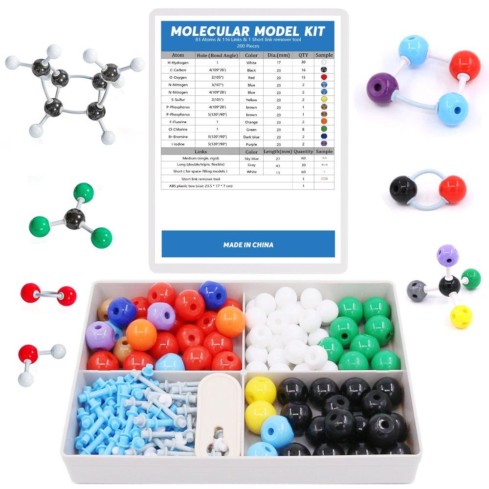 Swpeet 200 Pcs Molecular Model Kit for Organic and Inorganic Chemistry, Chemistry Molecular Model Student and Teacher Set - 83 Atoms & 116 Links & 1 Short link remover tool