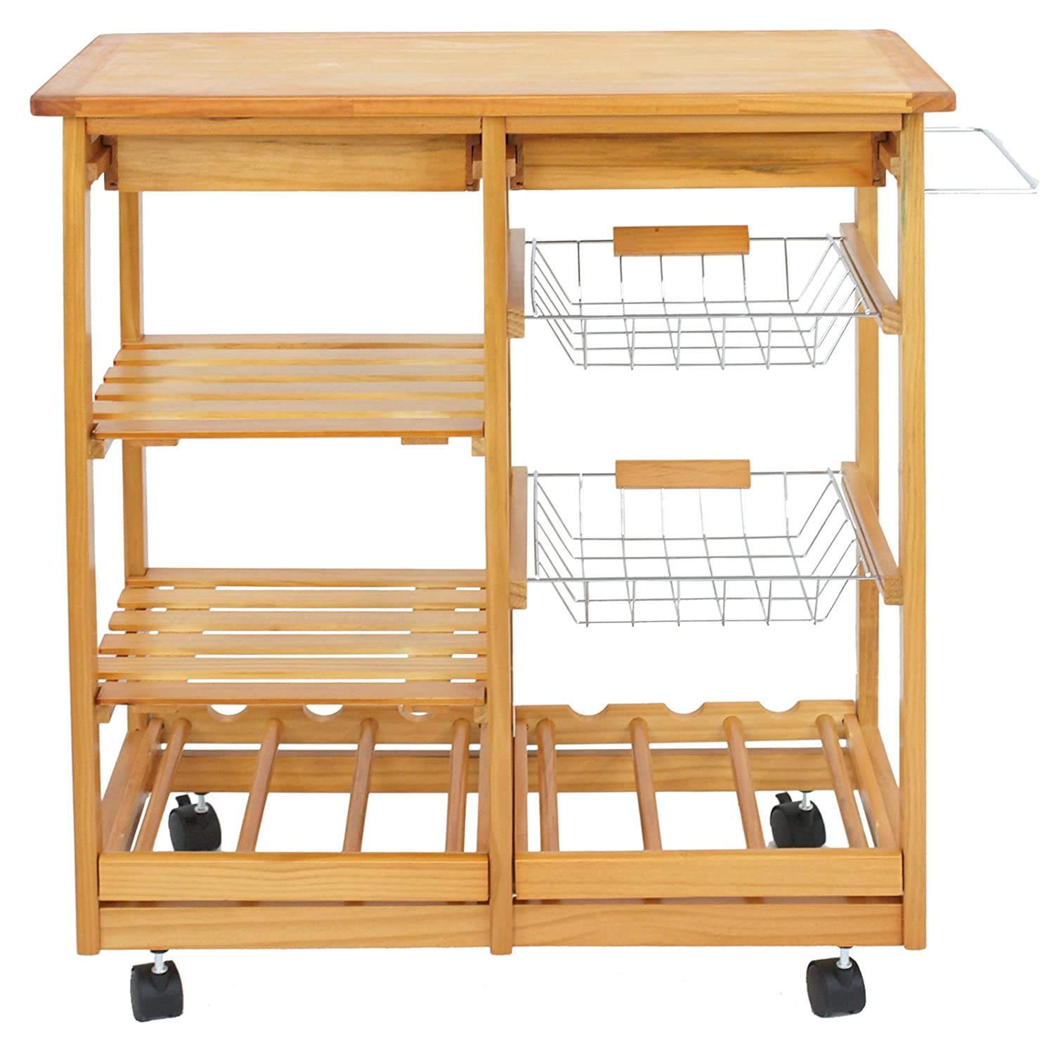 Nova Microdermabrasion Rolling Wood Kitchen Island Storage Trolley Utility Cart Rack w Storage Drawers Baskets Dining Stand w Wheels Countertop Wood