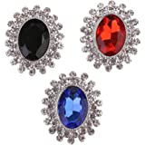 Baosity クリスタル装飾ボタン DIYダイヤモンド ラインストーン フラットバック ボタン 3 x 1.5cm 3個入り