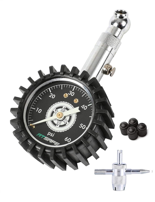 ATsafe Tire Pressure Gauge 60psi,Glow in The Dark, Professional Mechanical Tire Gauge Motorcycles,Cars,Trucks,etc. SMARTIRE