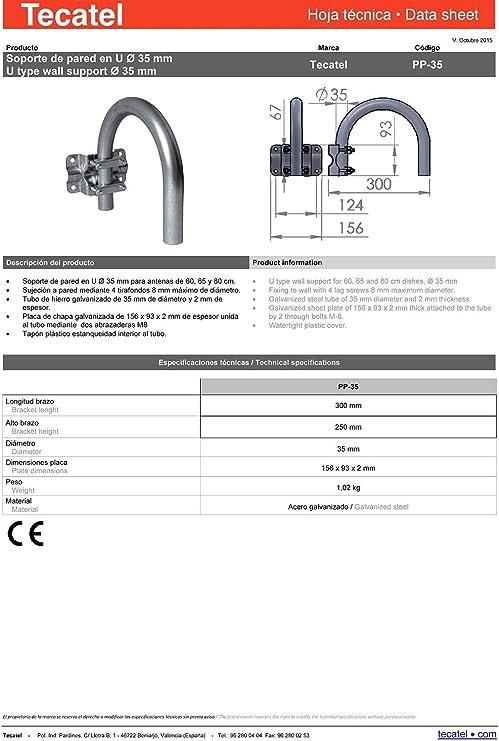 Tecatel K80C1LSCC Kit parabólica 80 cm, Soporte, LNB Universal, Cable y Conectores (K80C1LSCC) (K80C1LSCC)