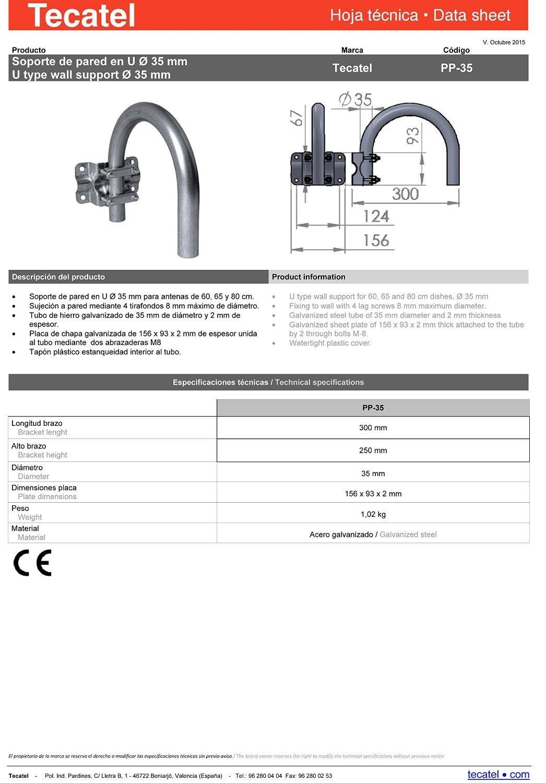 Soporte LNB Universal K100C1LSCC Cable y Conectores Tecatel K80C1LSCC-37 Kit parab/ólica 80 cm