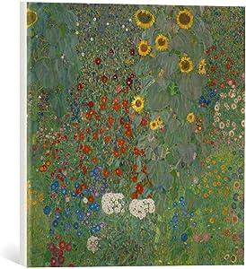 kunst für alle Canvas Print: Gustav Klimt Farm Garden with Flowers Fine Art Print, Canvas on Stretcher, Ready to Hang Wall Picture, 15.7x15.7 inch / 40x40 cm
