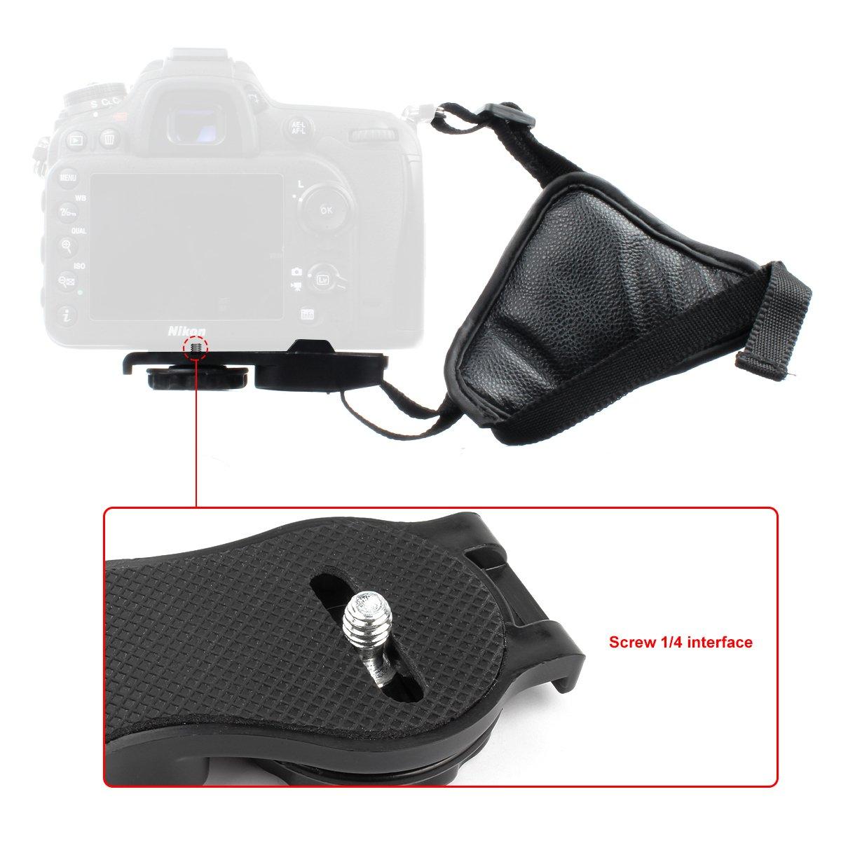 Nero SLR e impugnatura in pelle con treppiede Grip da polso in pelle con cinturino in pelle per fotocamera GES regolabile con imbottitura per fotocamere DSLR