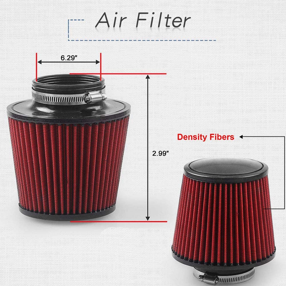 76mm 3 Inch Universal Performance Car Cold Air Intake Turbo Filter Aluminum Automotive Air Filter Induction Flow Hose Pipe Kit RYANSTAR Cold Air Intake Pipe Silver