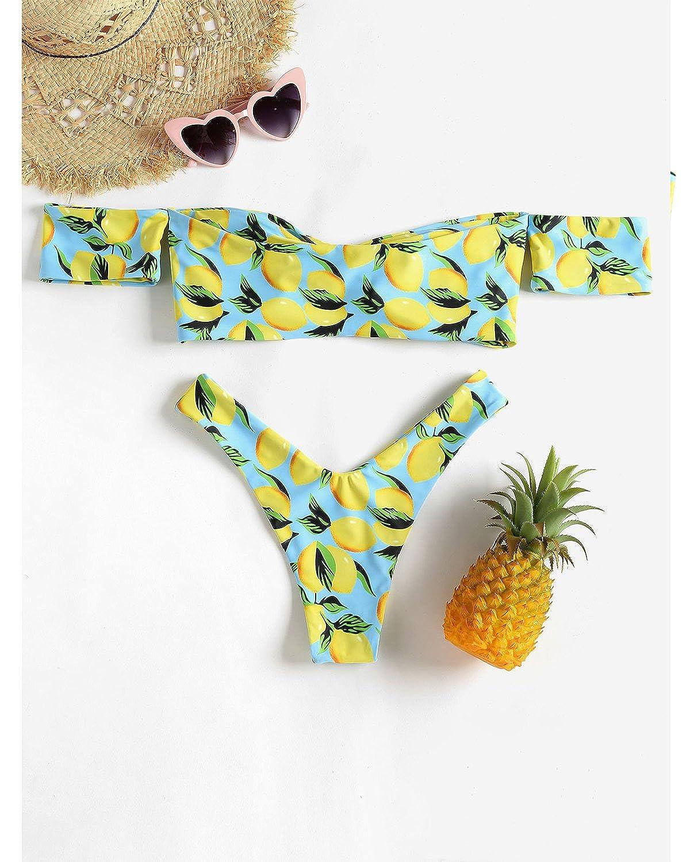 9bd7617836558 Amazon.com  ZAFUL Women s Off Shoulder Scoop Neck Lemon Print Bikini Set   Clothing
