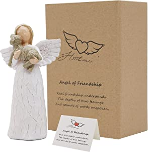 LUCKYBUNNY 6.2 Inch Guardian Angel Figurines, Angel of Friendship Sculpted Hand-Painted Figure Statuette Passed Away Dog Memorial Gift Pet Loss Gifts