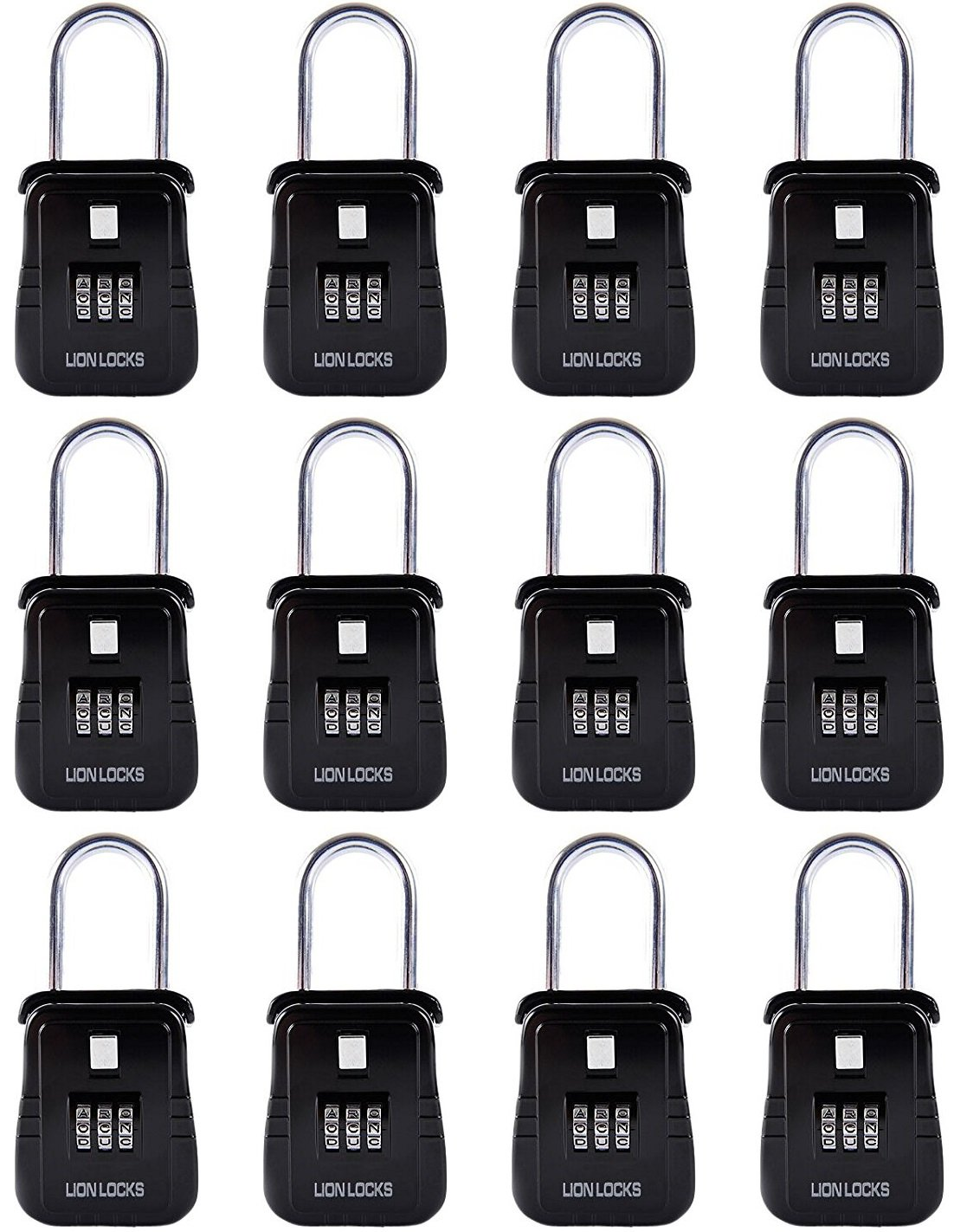 Lion Locks Alpha Key Storage Realtor Lock Box with Set-Your-Own Combination, (12 Pack , Black)