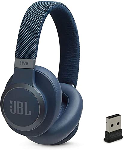 JBL Live 650 BT NC Over-Ear Noise Canceling Wireless Bluetooth Headphone Bundle with Plugable USB-BT4LE USB 2.0 Bluetooth Adapter – Blue