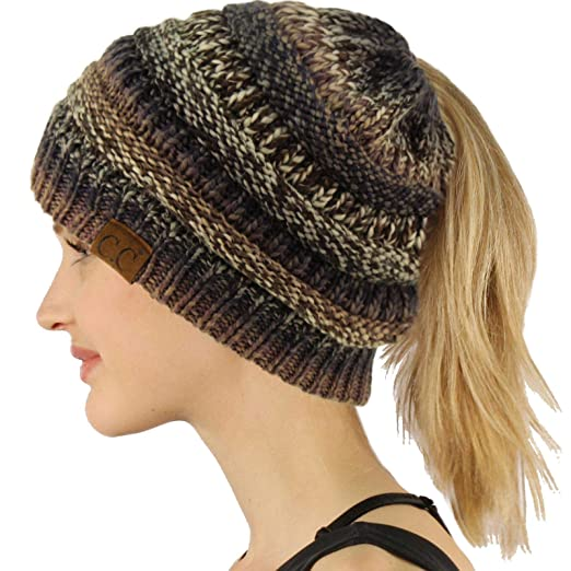 a14687f0f73 Ponytail Messy Bun BeanieTail Soft Winter Knit Stretchy Beanie Hat Cap  Black Gray Mix