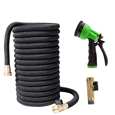 The Night's Watch Expandable Garden Hose, with Solid Brass Connector,50ft Strongest Expanding Garden Hose No Leakage Durable 6 Function Spray Nozzle for All Your Watering Needs(Black)