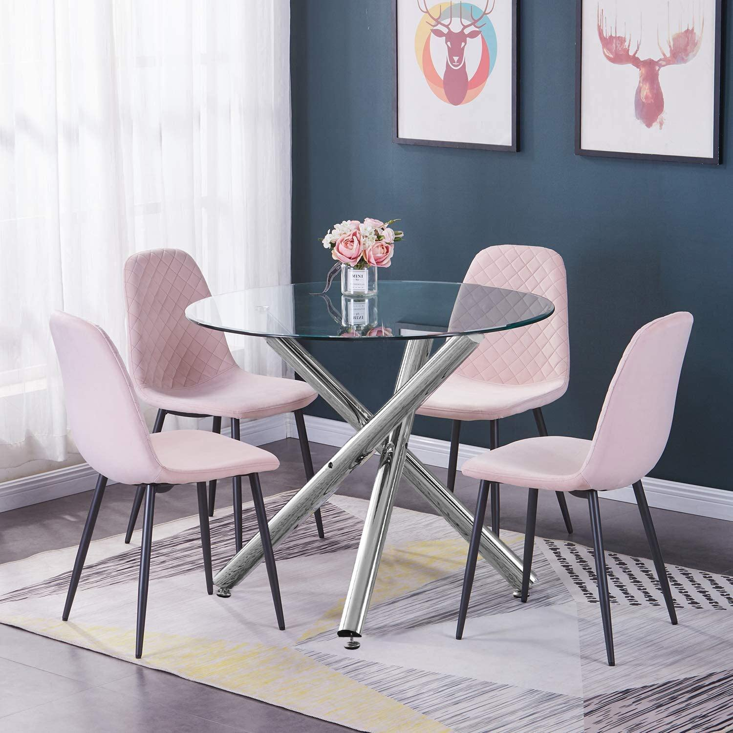 BOJU Round Glass Kitchen Dining Table and Chairs Set of 7 Pink Velvet  Upholstered Occasional Chairs and Clear Tempered Glass Table Conversational