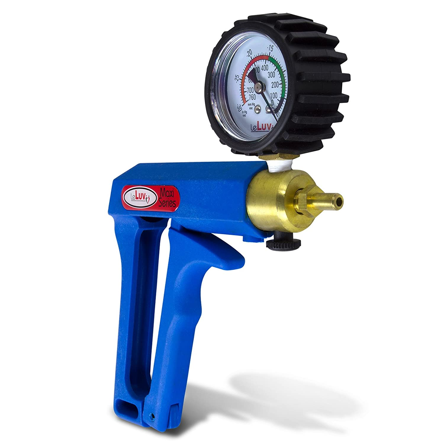 LeLuv Vacuum Pump Maxi Ergonomic with Release Valve and Rubber Protected Gauge Blue
