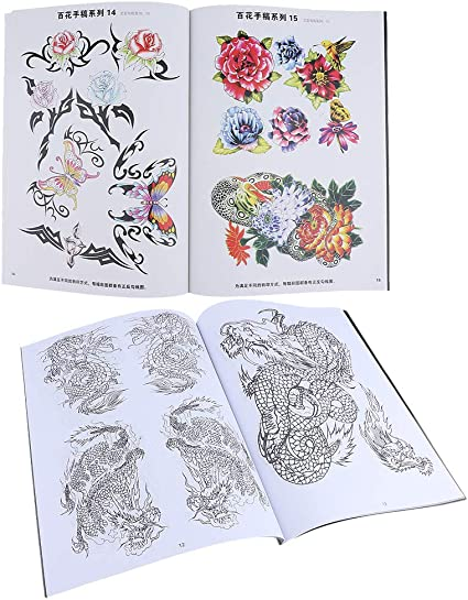 China Style Flower and Dragon Painting Drawing Tattoo Flash