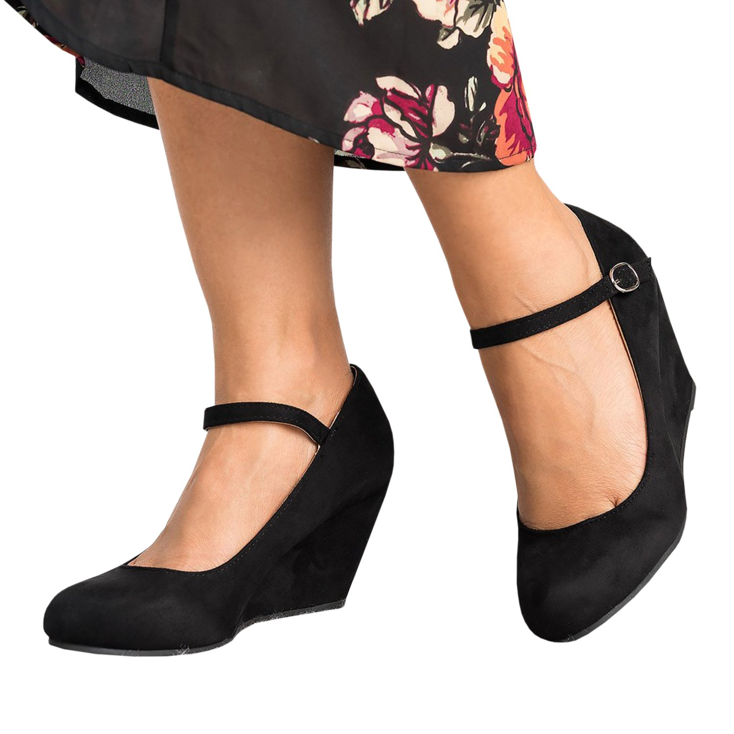 Syktkmx Womens Ankle Strap Mary Jane Wedges Pumps Closed Toe Spring Heeled Office Shoes Black 10 B(M) US by Syktkmx