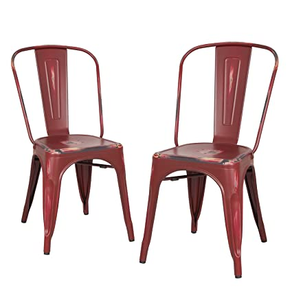 Homebeez Metal Dining Chairs, ANTIQUE RED Set of 2, Metal Antique Dining  Chairs with - Amazon.com: Homebeez Metal Dining Chairs, ANTIQUE RED Set Of 2