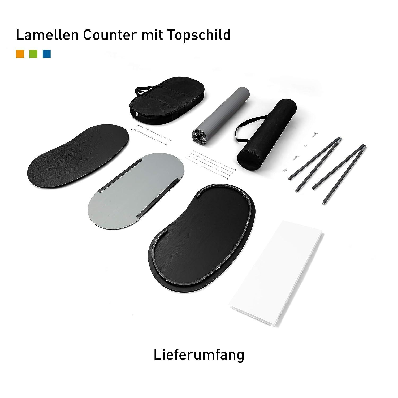 ✓ Messetheke ✓ Verkaufstheke von Vispronet/® ✓ Promotiontheke ✓ Lamellentheke Silbergrau, Rund Lamellen Counter