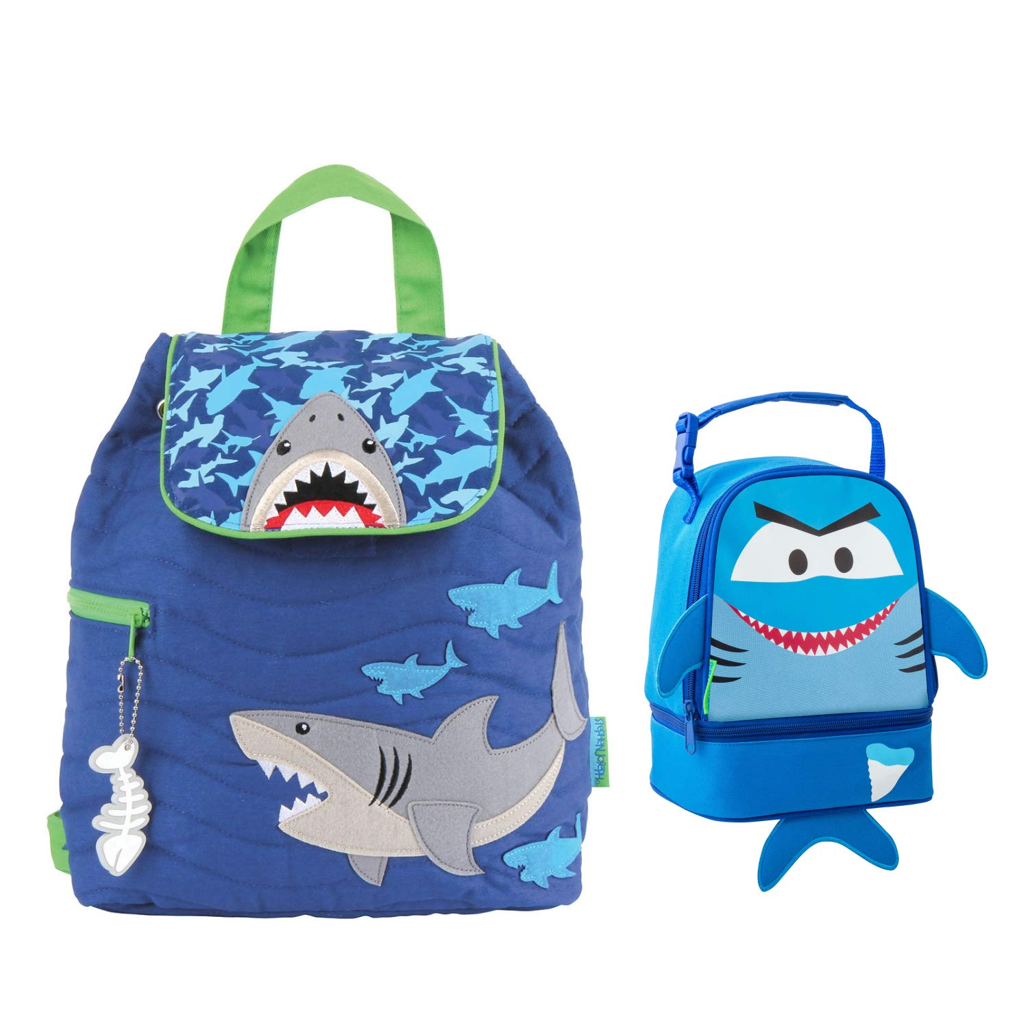 18c14bc4b89c Amazon.com | Stephen Joseph Boys Quilted Shark Backpack and Lunch ...