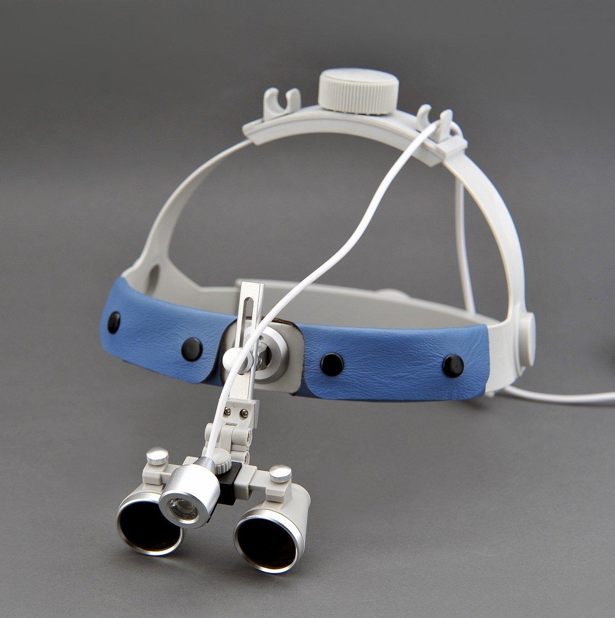 Songzi Optics (2.5X,3X,3.5X Optional) Headband Binocular Medical Surgical Dental Loupes For glasses wearer & SZ-1 Headlight (working distance :(360 - 460 mm)R, Magnification: 2.5X)