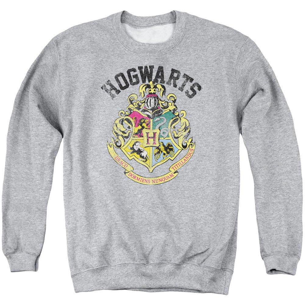 Harry Potter Hogwarts Crest Adult Crewneck Sweatshirt Athletic Heather