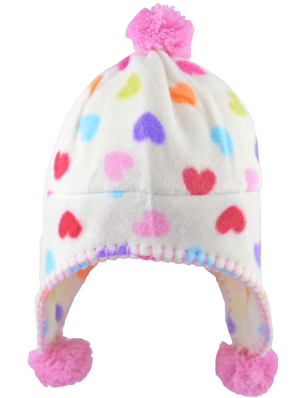 d3acd543c2d Jiglz Girls Winter Peruvian Beanie Bobble Hat with Hearts ...