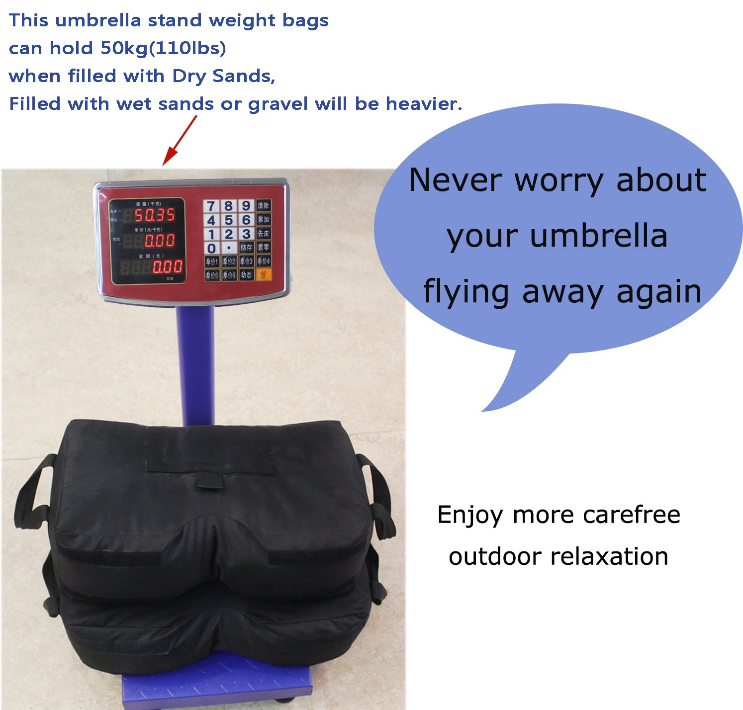CELEISITE 2-piece Umbrella BASE WEIGHT BAGS, Waterproof Umbrella Stand Weights, 18'' Weight Bags with Shovel for any Offset, Cantilever or Outdoor Patio Umbrella, Easy to Set up by celeisite (Image #7)